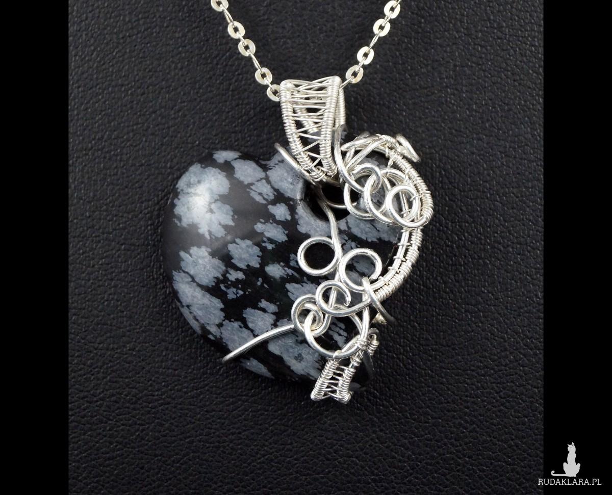 Obsydian śnieżny, Srebrny wisior z obsydianem, prezent dla niej, prezent dla mamy, prezent dla dziewczymy, biżuteria ręcznie robiona