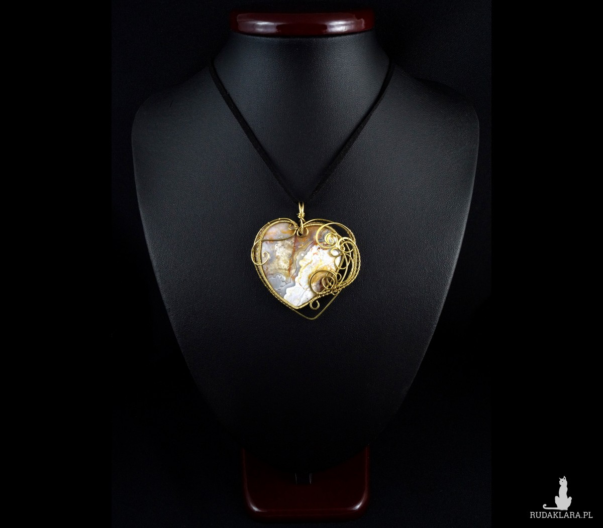 Agat koronkowy, Mosiężny wisior z agatem, ręcznie wykonany, prezent dla niej, prezent dla mamy, prezent urodzinowy, niepowtarzalna biżuteria