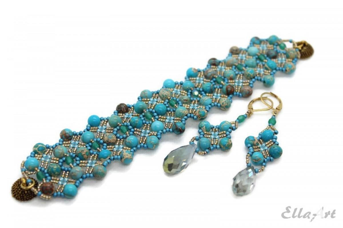 komplet biżuterii z jaspisu cesarskiego