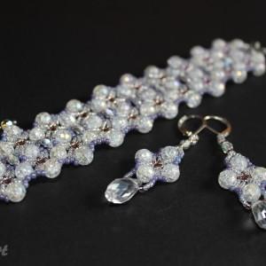 komplet biżuterii z koralików lodowych