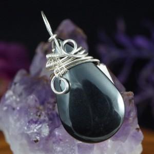 Hematyt , Srebrny wisior z hematytem, ręcznie wykonany, prezent dla niej, prezent dla mamy, prezent urodzinowy, niepowtarzalna biżuteria