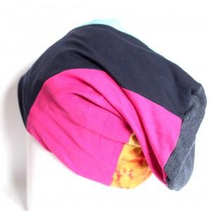 czapka smerfetka patchworkowa dzianina farbowana