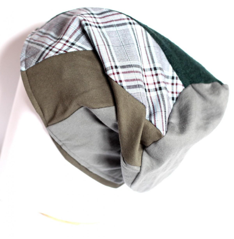 czapka duża damska patchwork w kratke