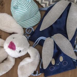 Mini plecak worek z króliczymi uszami
