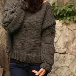 Sweter z wełną Shetland Chunky