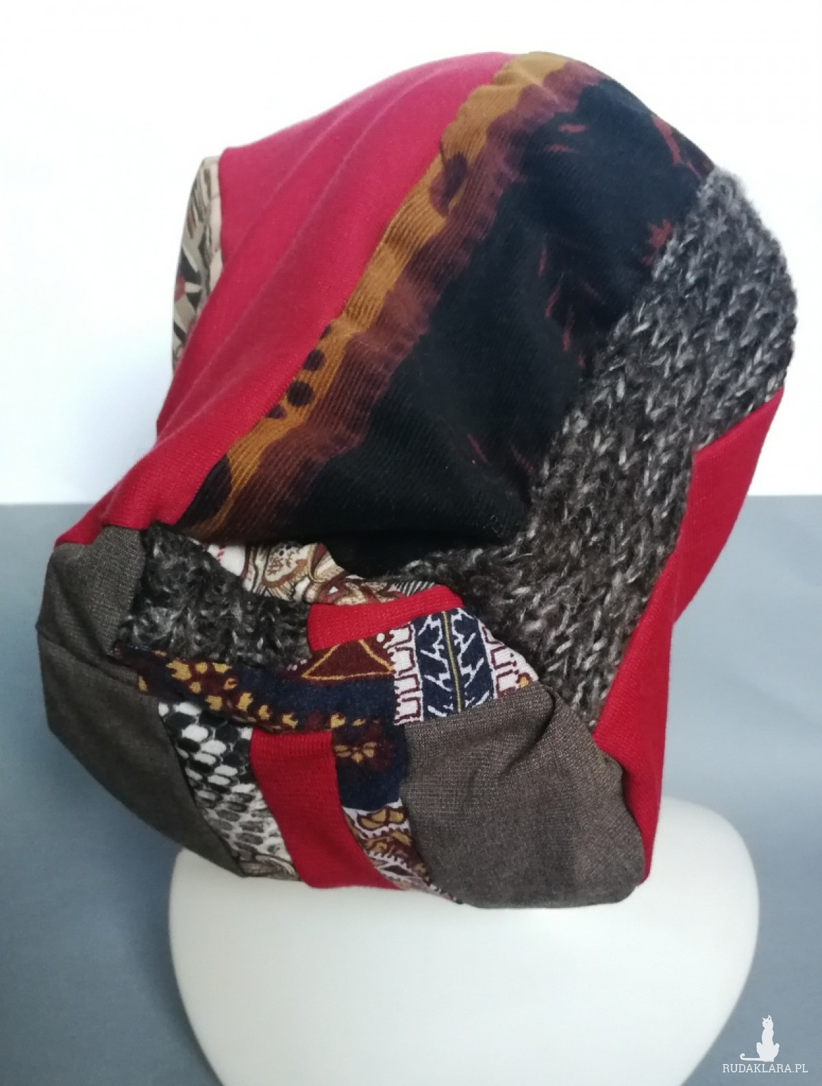 czapka etno boho handmade patchwork