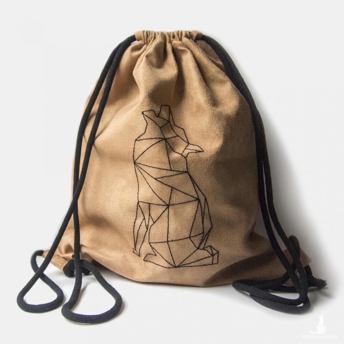 Duży plecak z geometrycznym wilkiem