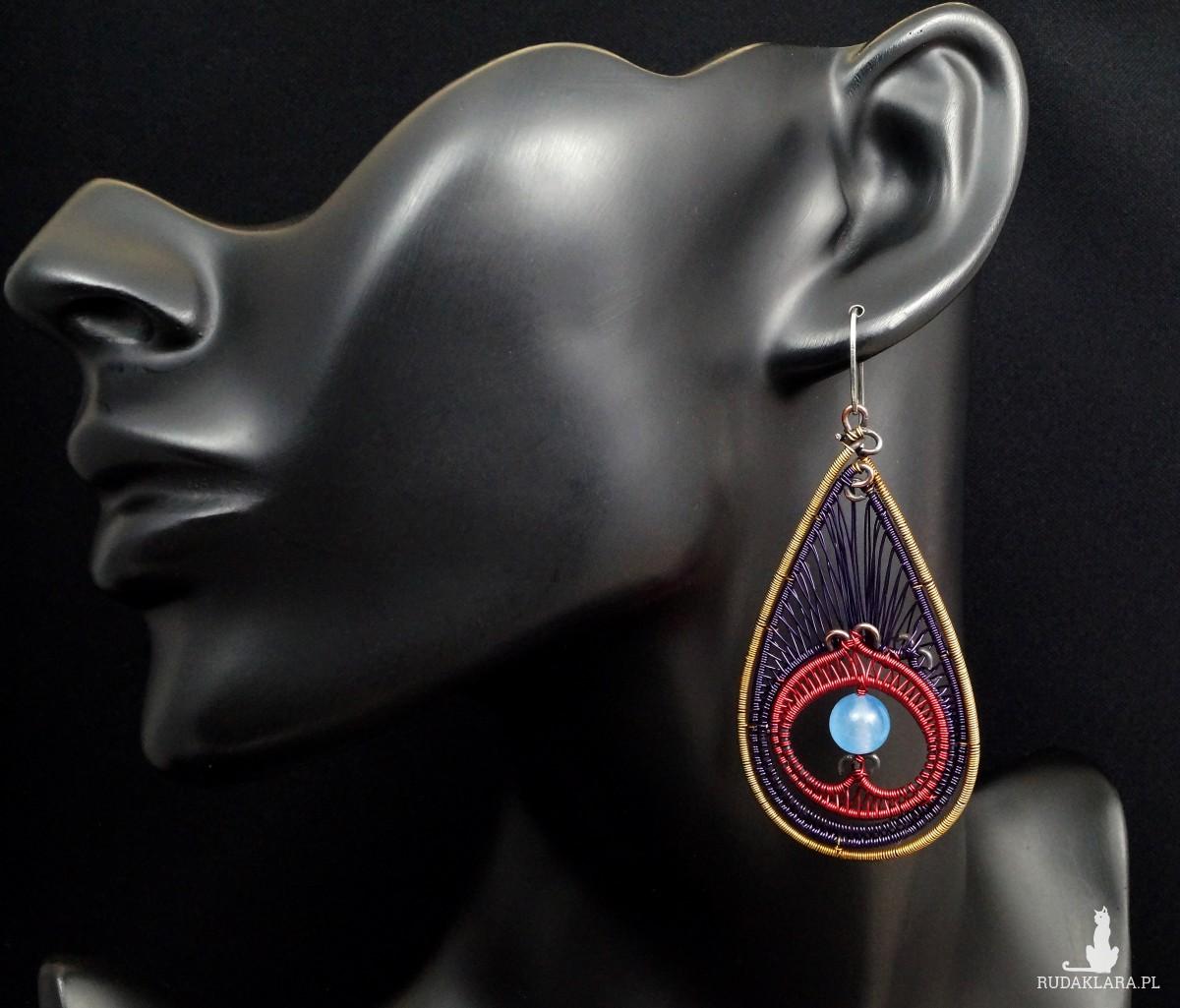 Pawie oko, Miedziane kolczyki w kształcie pawiego oczka, ręcznie wykonany, prezent dla niej, prezent dla mamy, prezent urodzinowy, biżuteria