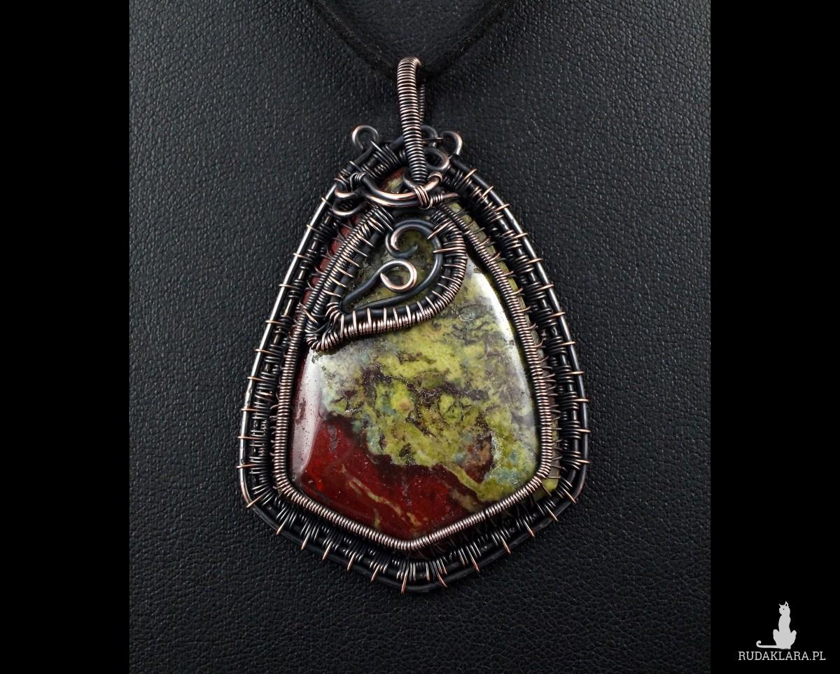 Kamień krwisty, Miedziany wisior z heliotropem, ręcznie wykonany, prezent dla niej, prezent dla mamy, prezent urodzinowy, biżuteria autorska