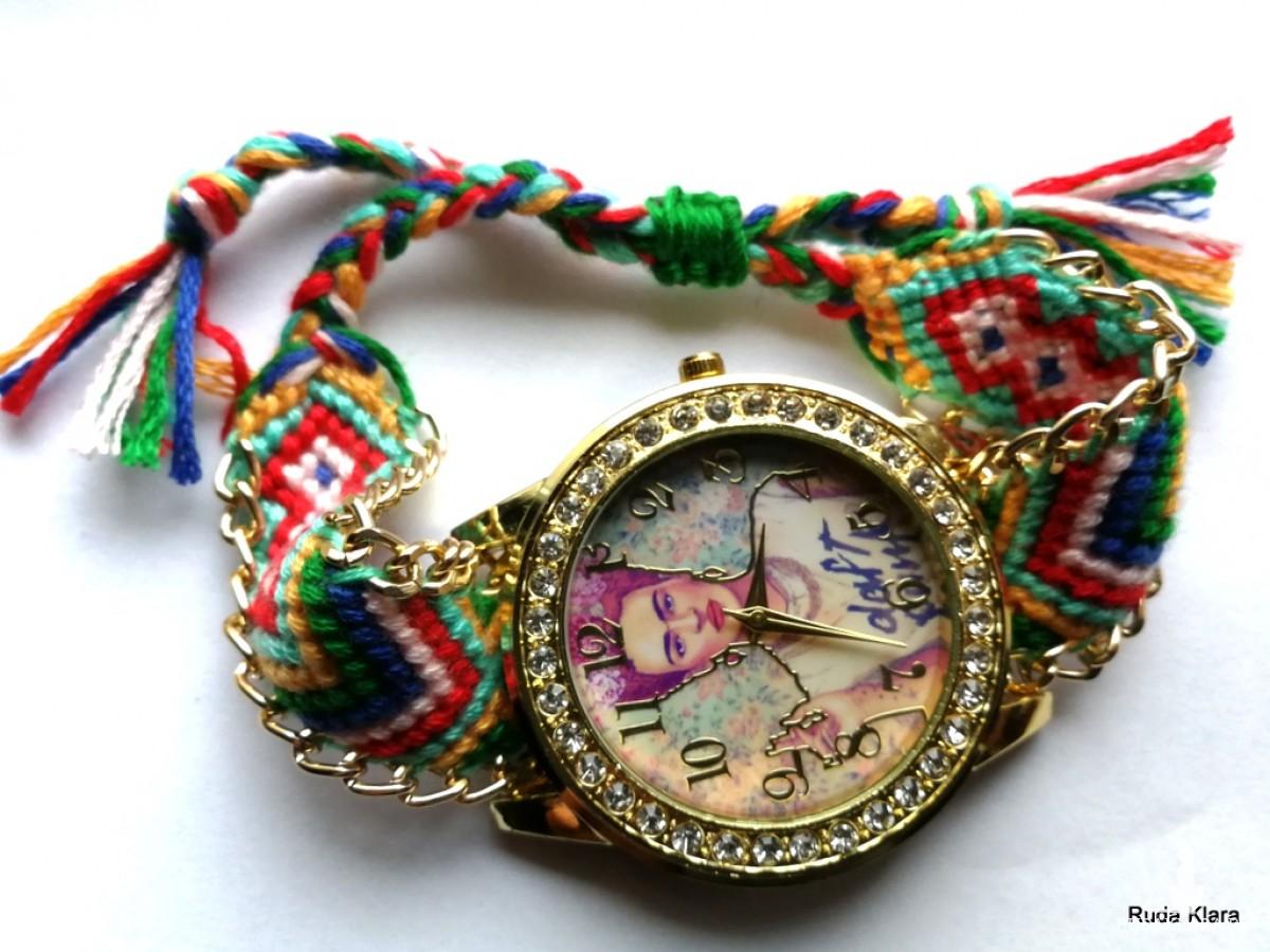 zegarek w stylu etnicznym , duży kolorowy zwariowany z wizerunkiem Fridy Kahlo