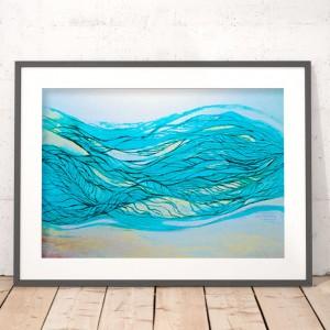 plakat morski, morze plakat, turkusowa grafika, srebrna grafika, dekoracja styl żeglarski