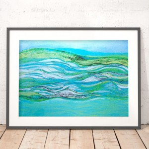 plakat z morzem, nowoczesna grafika, turkusowy plakat, ładna grafika na ścianę, srebrny plakat morski