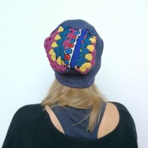 granatowa wełniana damska czapka z patchworkową górą handmade