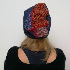 czapka damska granatowa wełniana boho zimowo handmade