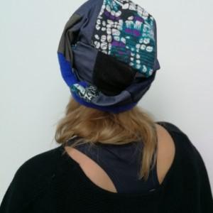 czapka damska granatowa szara kolorowa szyta patchworkowo