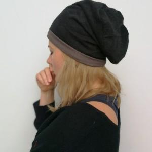 czarna damska czapka z dzianiny swetrowej przylegająca do głowy, czapka dla dziecka