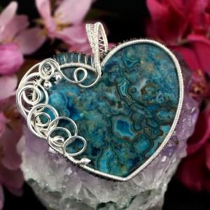 Agat Koronkowy Crazy lace, Srebrny wisior z agatem w kształcie serca, ręcznie wykonany, prezent dla niej prezent dla mamy prezent urodzinowy