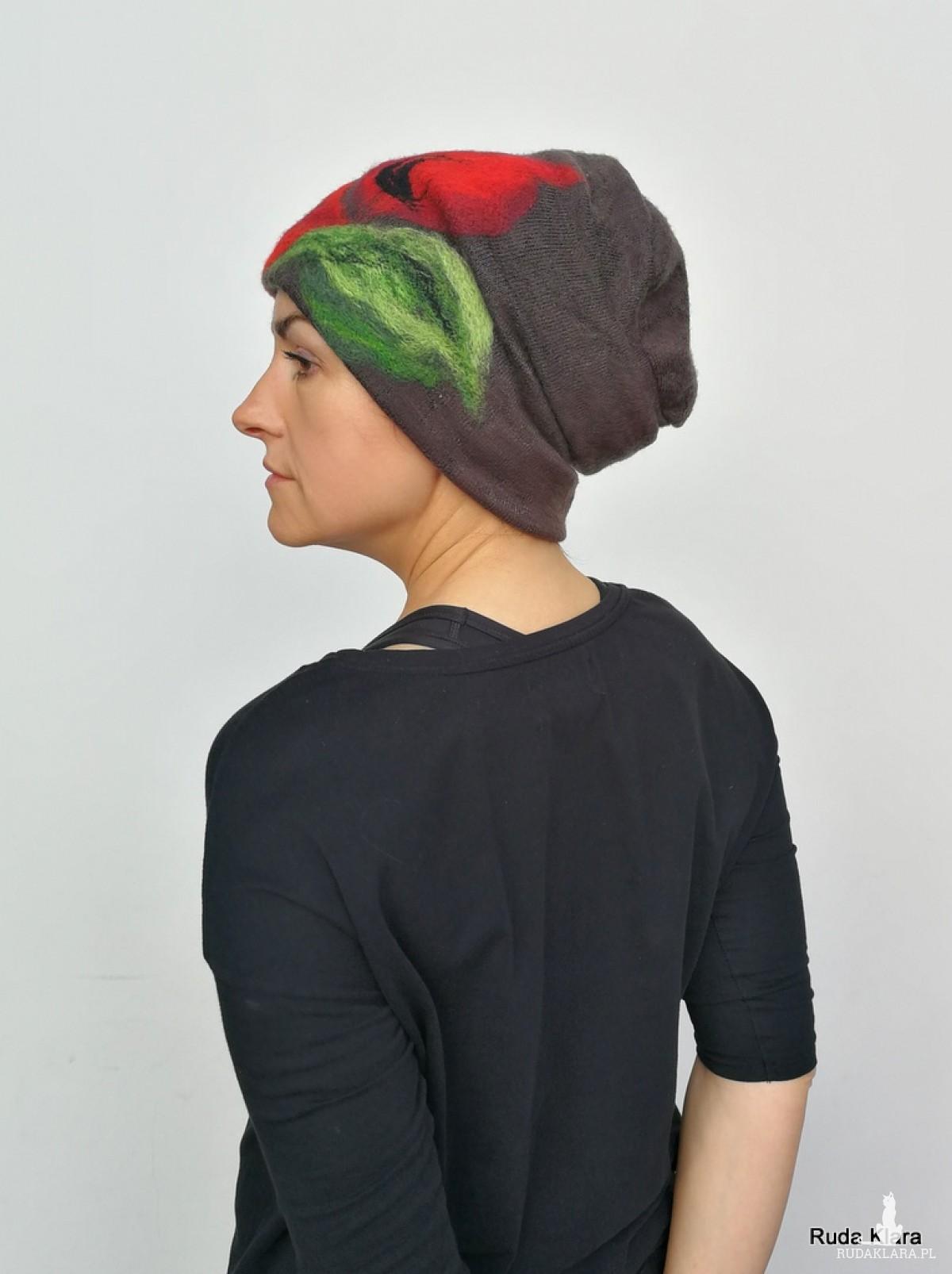 czapka wełniana damska etno boho filc handmade brązowa