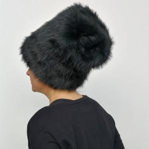 czarna futrzana damska czarna boho zimowa handmade