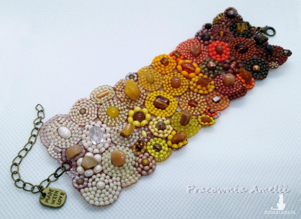 koralikowa łąka ombre bursztyn perły minerały