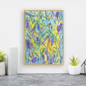 nowoczesny rysunek, ładna grafika na ścianę, dżungla obrazek, kolorowy rysunek z dżunglą, oprawiony szkic