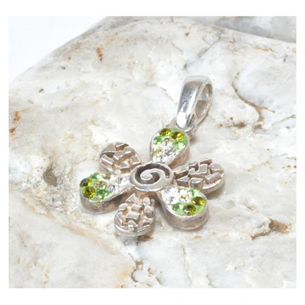 102 srebrny wisiorek, zawieszka; kwiatek, kwiatek z cyrkoniami