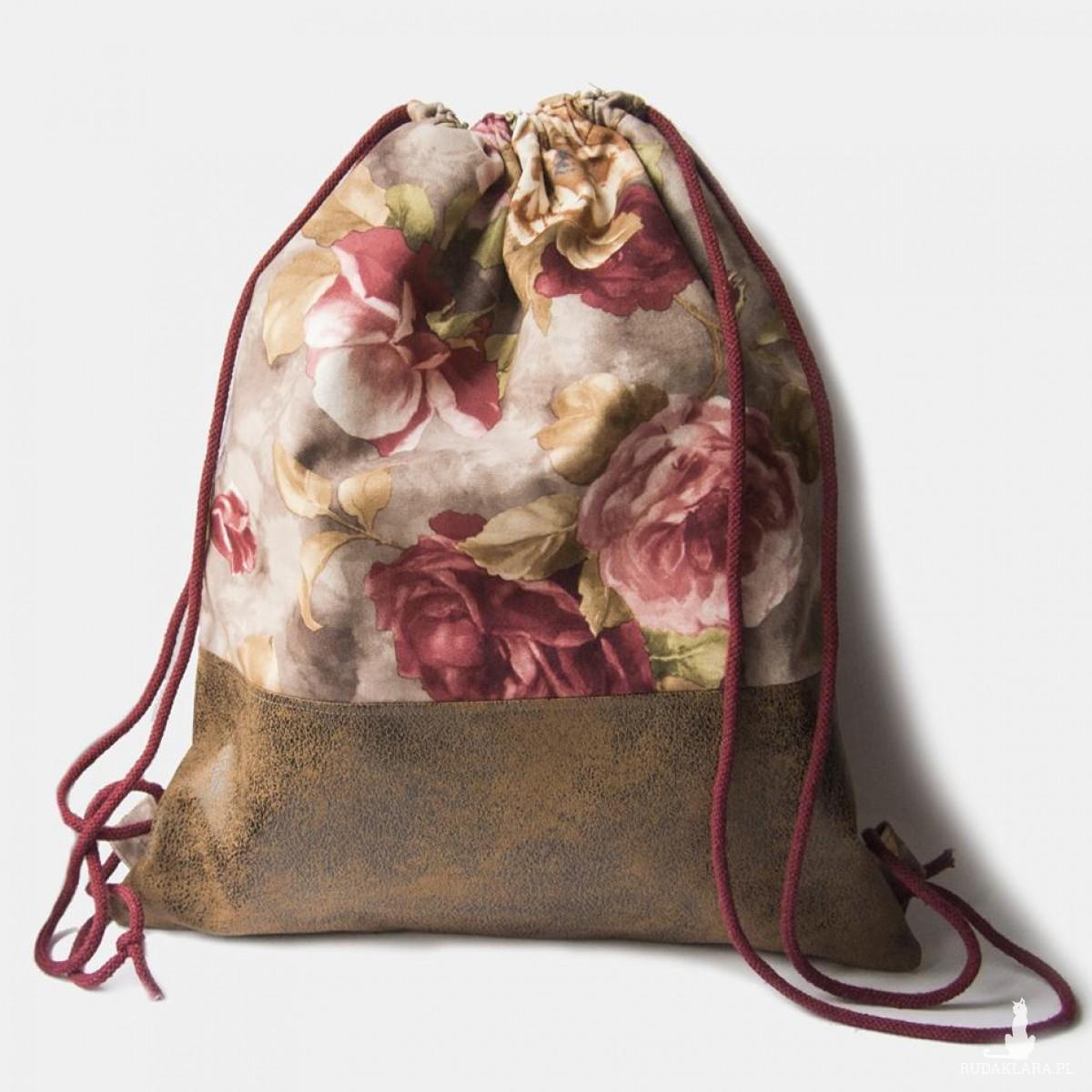 Plecak torba 2w1 skórzana w róże