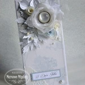 Kartka ślubna w pudełku perłowa
