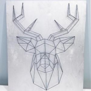 Dekoracja ścienna geometryczny jeleń string art srebrny