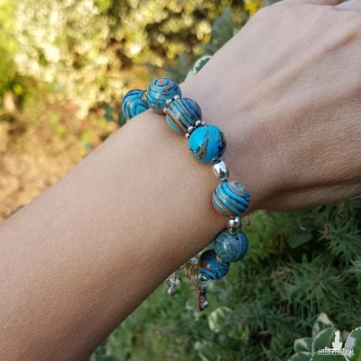 bra19-106 Bransoletka, howlity,niebieskie howlity,