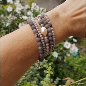 bra19-103 Bransoletka Jadeit, perła,korale szare,jadeit szary,szklane korale,