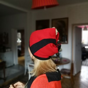 czapka zimowa dzianina wełna patchworkowa damska