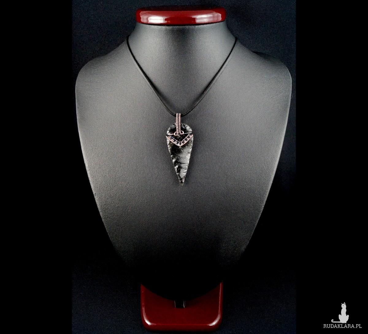 Obsydian, miedziany wisior ze smoczym szkłem, prezent dla niego, prezent dla niej, unisex, biżuteria ręcznie robiona, wire wrapped, handmade