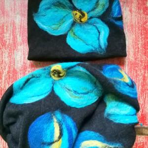 czarny wełniany komplet w kwiaty idealny na zimę filcowany wełną