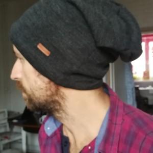 czapka męska unisex grafitowa smerfetka handmade