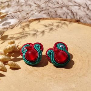Małe kolczyki sutasz - czerwień i zieleń