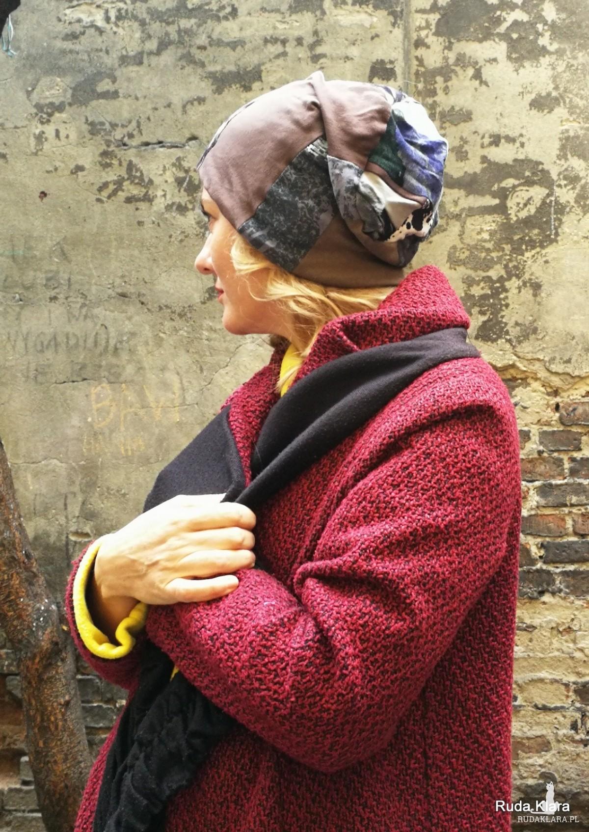czapka zimowa patchworkowa etno boho
