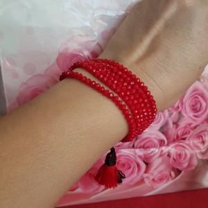 Bransoletka czerwona, koraliki szklane,regulowana, bra19-125