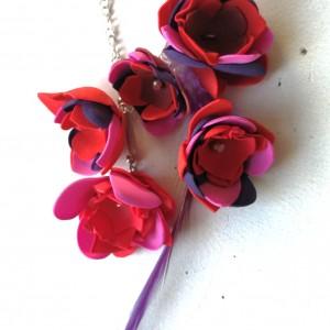 nausznica długa orientalna boho handmade kwiaty i pióra