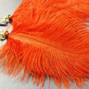 klipsy czerwono srebrne pióra handmade