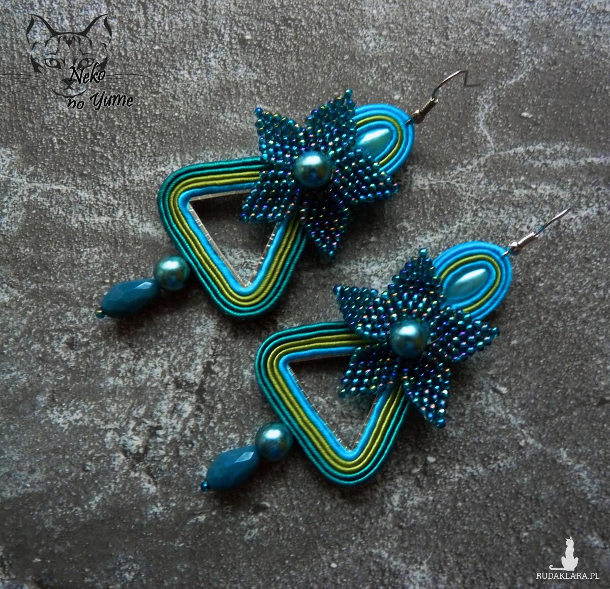 Liria - kolczyki sutasz, haft koralikowy