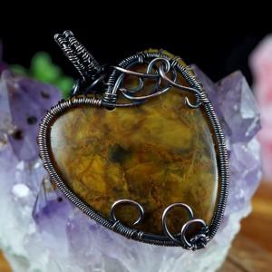 Pietersyt, Miedziany wisior z pietersytem, ręcznie wykonany, prezent dla niej, prezent dla mamy, prezent urodzinowy, serce, wire wrapped