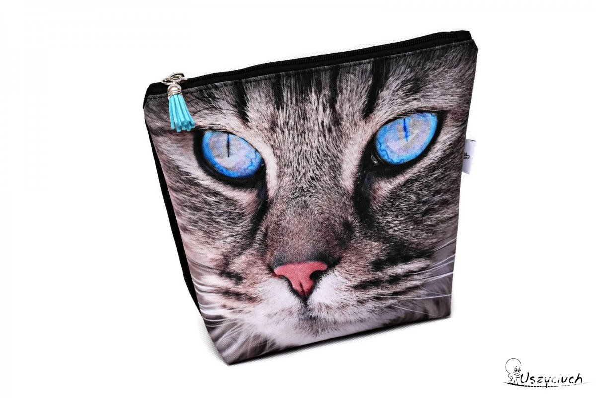 Kosmetyczka wodoodporna z kotem, kotek, szary kot duża