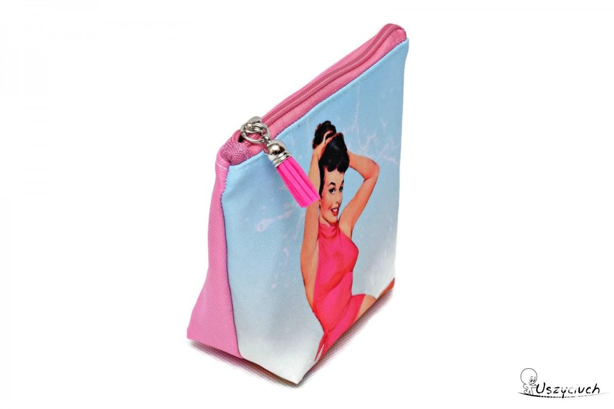 Kosmetyczka wodoodporna pin up różowa mała
