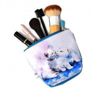 Kosmetyczka wodoodporna, saszetka do torebki kotek piesek całus mała