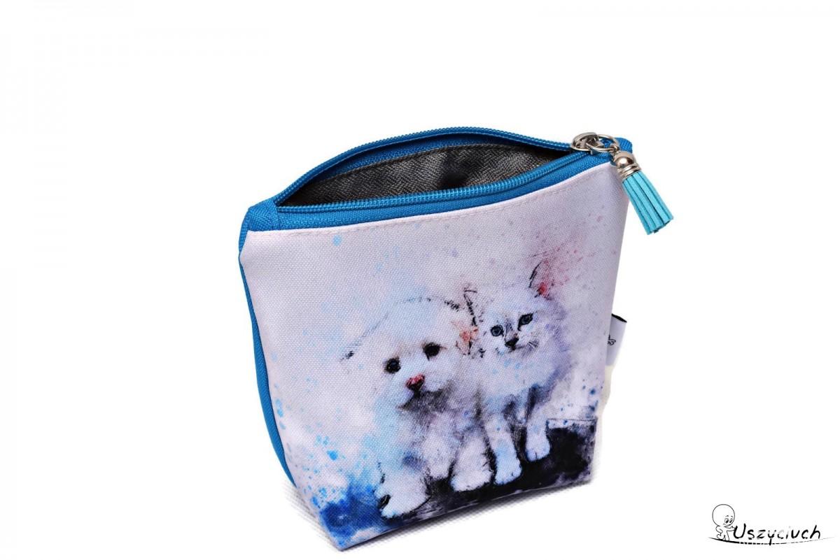 Kosmetyczka wodoodporna, saszetka do torebki kotek piesek obok mała