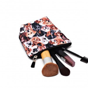 Kosmetyczka wodoodporna pieski, saszetka z pieskami do torebki mała
