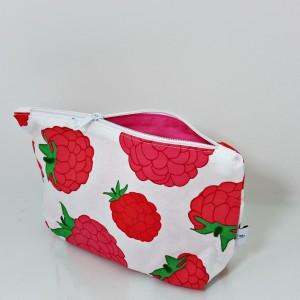 Kosmetyczka bawełniana, miękka saszetka do torebki w maliny
