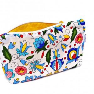 Kosmetyczka folk kaszubski bawełniana saszetka do torebki ludowa kaszubska żółta
