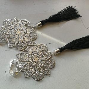 klipsy długie wiszące srebrno czarne lekkie handmade